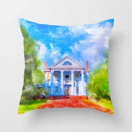 Grand Neoclassical Home - Old South Throw Pillow