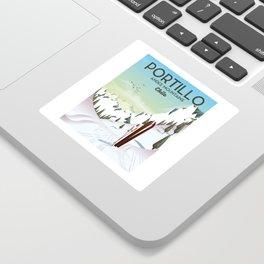 Portillo Ski Chile Ski travel poster. Sticker