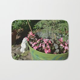 Sun kissed Garden Angel and Begonias Bath Mat