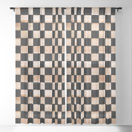 Black and Beige Checker Pattern Sheer Curtain