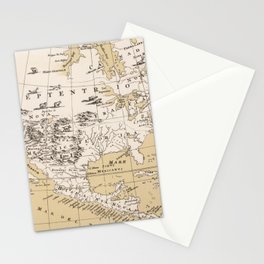 Vintage Map of North America in 1670 (1889) Stationery Cards