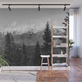 Snow Capped Sierras - Black and White Nature Photography Wall Mural
