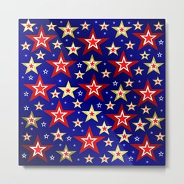 christmas pattern red star, gold stars,blue shiny background Metal Print