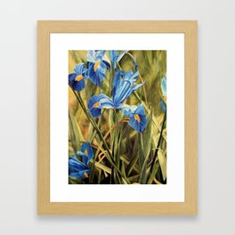 Blue Iris Watercolor Botanical Garden Nature Art Painting Framed Art Print