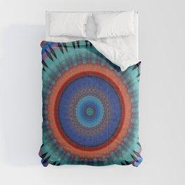 Orange Bright Blue Mandala Design Comforters