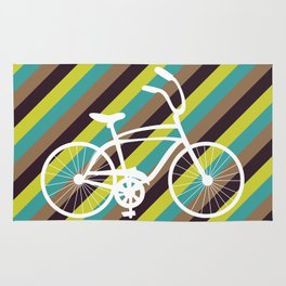 Bicycle Art Print Home Decor Living Children Room in Green Beige Brown Blue Paste Wall Graphic Rug