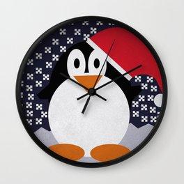christmas pinguin Wall Clock