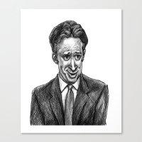jon contino Canvas Prints featuring Jon Stewart by AndyGarnerFlexner