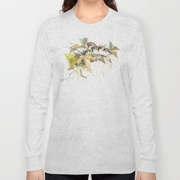 Sparrows and Fall Tree, three birds, brown green fall colors Long Sleeve T-shirt