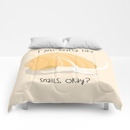 I Just Really Like Snails Gold Comforters
