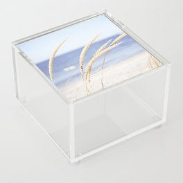 Beach Grass Blue Photography, Coastal Ocean Landscape, Sea Seashore Seascape Shore Acrylic Box