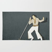 elvis presley Area & Throw Rugs featuring Elvis Presley Impersonator by Aquamarine Studio