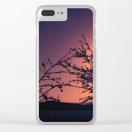 Catching the Moment (Coral Orange Sunset, Dark Violet sky) Clear iPhone Case