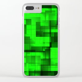 Mosaic of green volumetric squares with a shadow. Clear iPhone Case