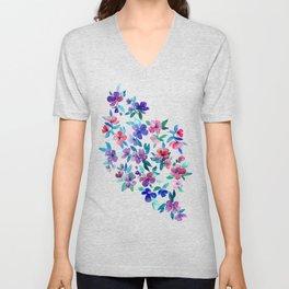 Southern Summer Floral - navy + colors Unisex V-Neck