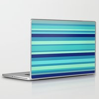 preppy Laptop & iPad Skins featuring Preppy Stripes - Aqua Blues by Sweet Karalina