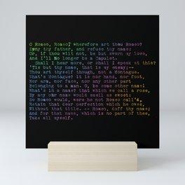 Rainbow Shakespeare! (Balcony Scene, Black Background) Mini Art Print
