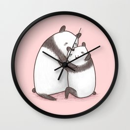 Panda Cuddle Wall Clock
