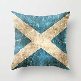 Vintage Aged and Scratched Scottish Flag Throw Pillow
