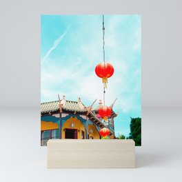 Travel photography Chinatown Los Angeles VI temple with lamps Mini Art Print