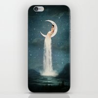 nan lawson iPhone & iPod Skins featuring Moon River Lady by Paula Belle Flores