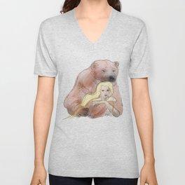 The woman and the polar bear Unisex V-Neck