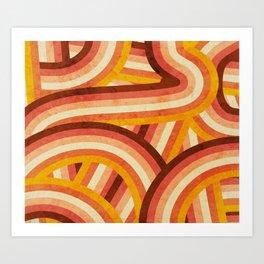 Vintage Orange 70's Style Rainbow Stripes Art Print