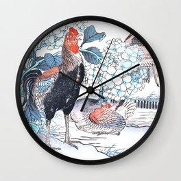 Rooster And Hen Near Hydrangea Bush - Antique Japanese Woodcut Print Art By Kono Bairei Wall Clock