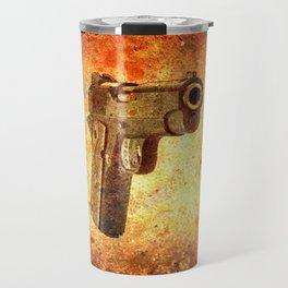 M1911 Muzzle On Rusted Background 3/4 View Travel Mug