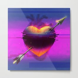 Heart Glitch Metal Print