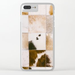 Brown Cowhide Clear iPhone Case