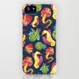Fruit Fish Frenzy Navy iPhone Case