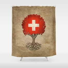 Vintage Tree of Life with Flag of Switzerland Shower Curtain
