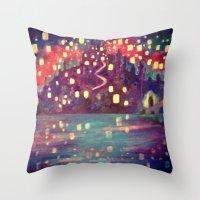 lanterns Throw Pillows featuring Lanterns by Jadie Miller