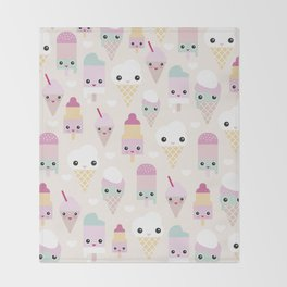 Cute kawaii summer Japanese ice cream cones and popsicle p Throw Blanket