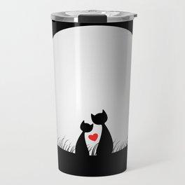 Cute Cats in love romantic birthday gift Travel Mug