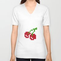 8bit V-neck T-shirts featuring 8bit fruit by Vadz
