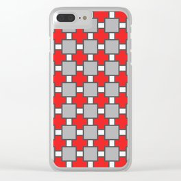 Vinho Tinto Red Square Portuguese Azulejo Tile Pattern Clear iPhone Case