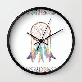 Gypsy Dreams Dreamcatcher on white with Gypsy Dreams Trim Wall Clock