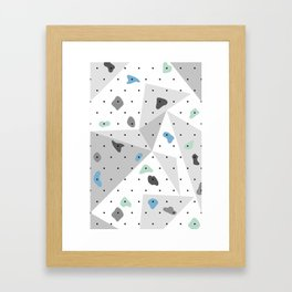 Abstract geometric climbing gym boulders blue mint Framed Art Print