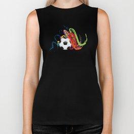 Soccer Ball with Brush Strokes Biker Tank
