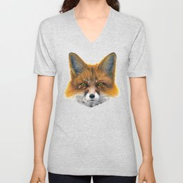 Fox face - Painting in acrylic Unisex V-Neck