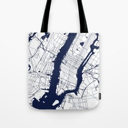 New York City White on Navy Tote Bag
