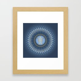 Dark Blue Gold Turtle And Mandala Framed Art Print