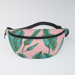 Green and Pink Banana Leafs Fanny Pack
