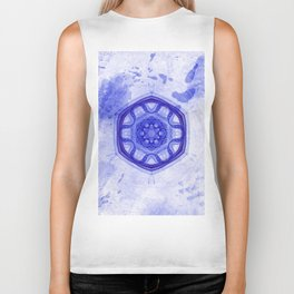 Blue wheel of fortune mandala Biker Tank