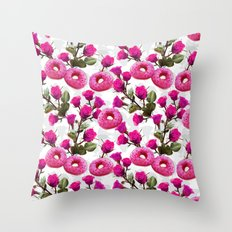 Roses are Pink, Donuts are Delicious Throw Pillow