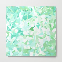 Green Ombre Triangles Metal Print