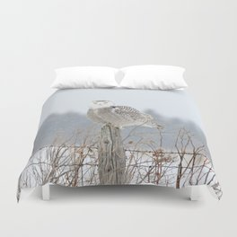 Snow falling on Miss Snowy Duvet Cover