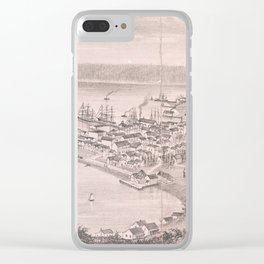 Vintage Pictorial Map of Seattle WA (1882) Clear iPhone Case